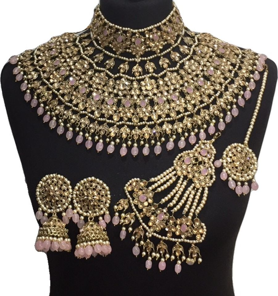 pink golden jodha bridal jewellery set BRD0463