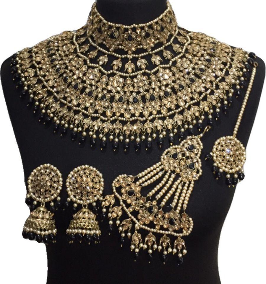 black golden jodha bridal jewellery set BRD0466