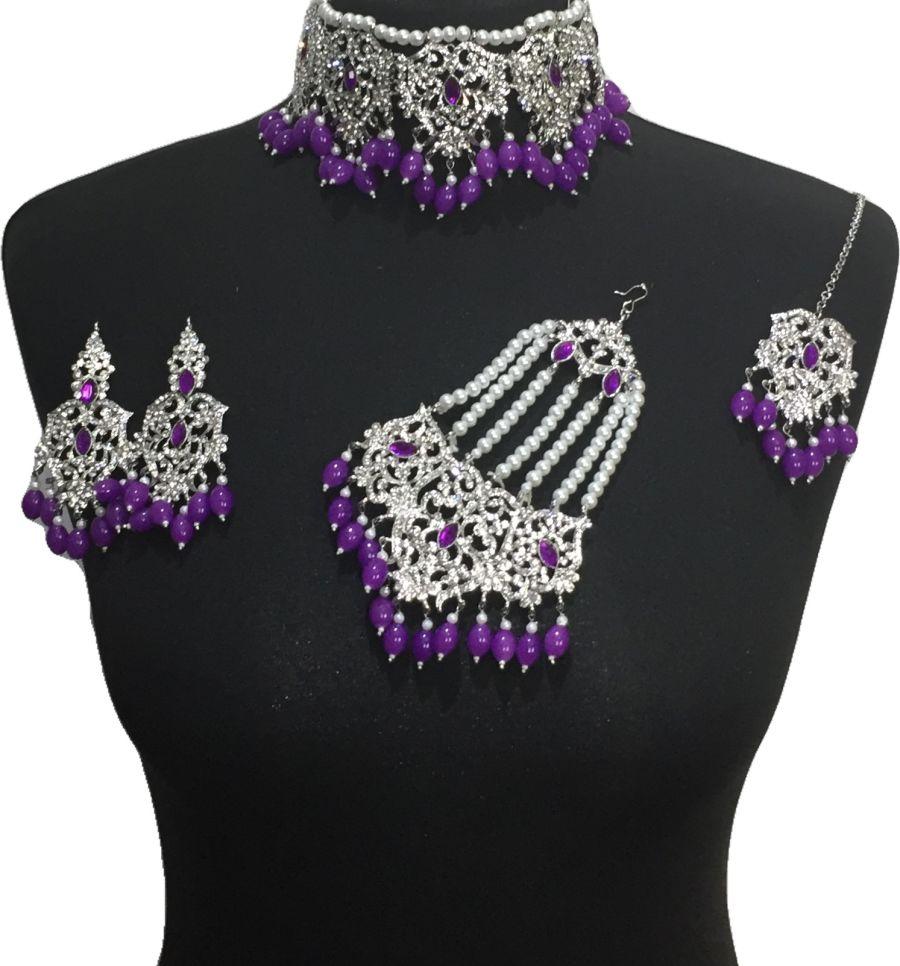 purple bridal jewellery set BRD0471