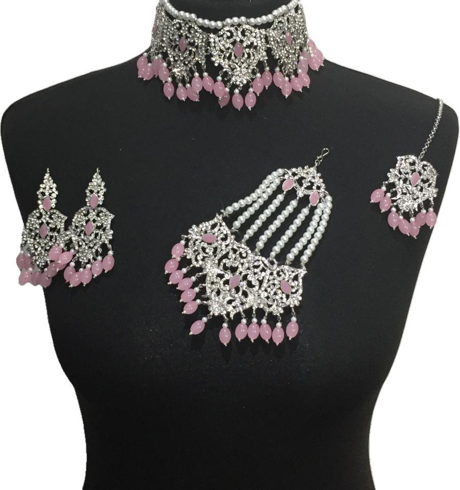 pink bridal jewellery set BRD0472