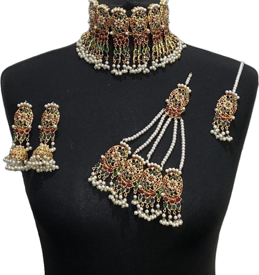 multi gem statement bridal jewellery set BRD0473
