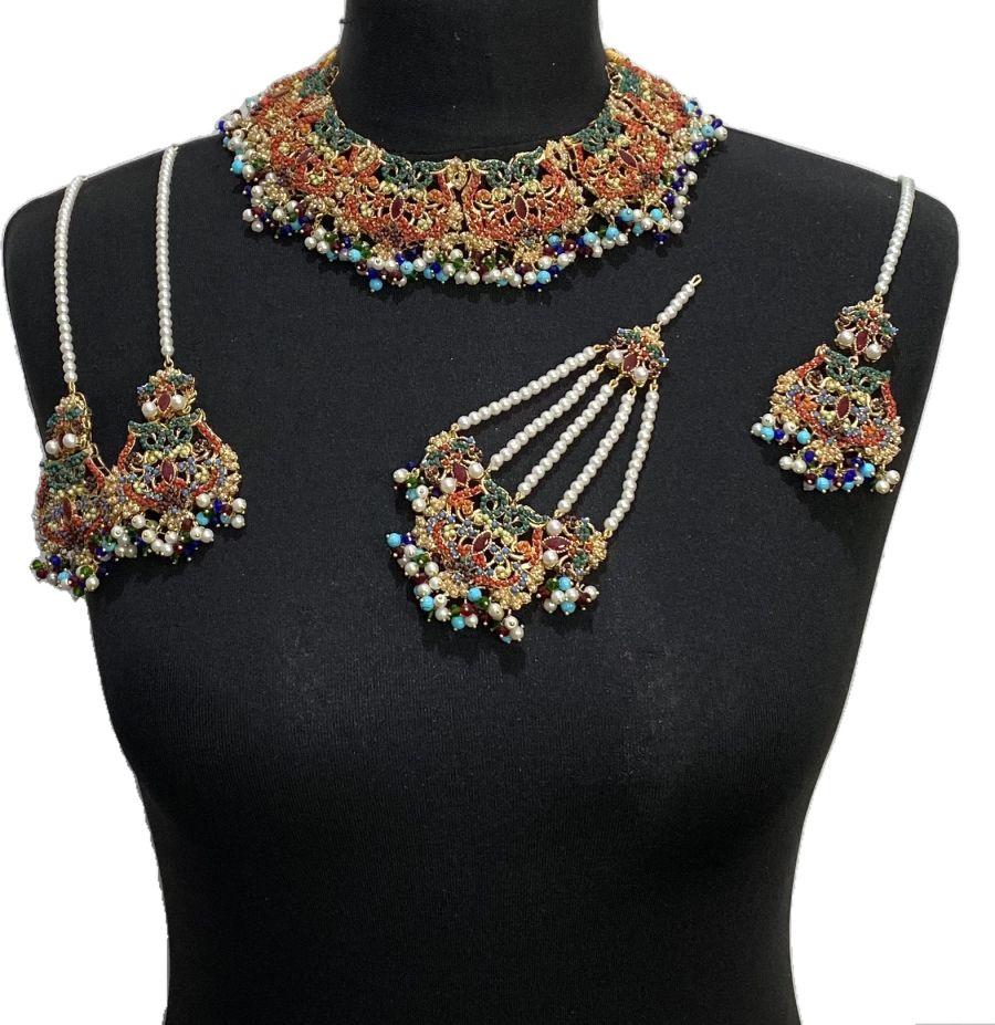 multicoloured bridal jewellery set BRD0475