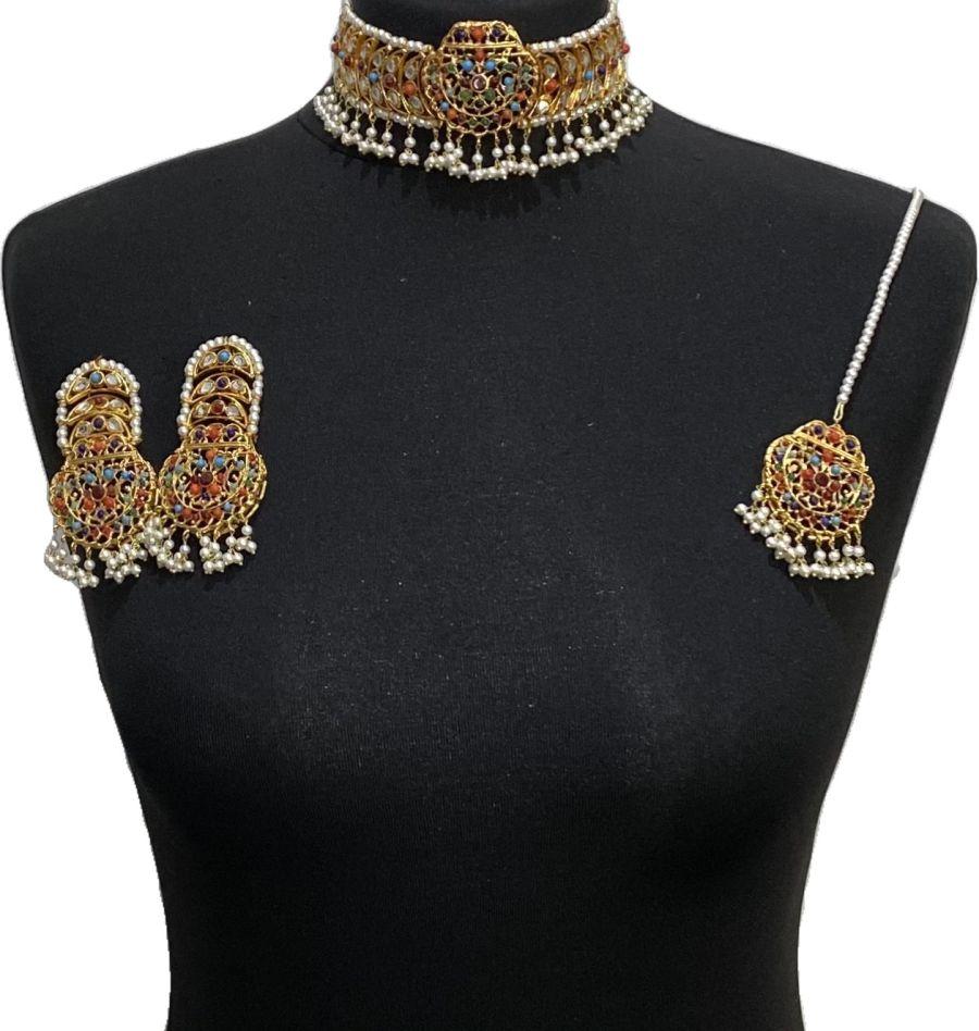 nau ratan kundan necklace set NCK0629