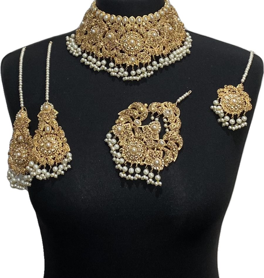golden pakistani bridal jewellery set BRD0478