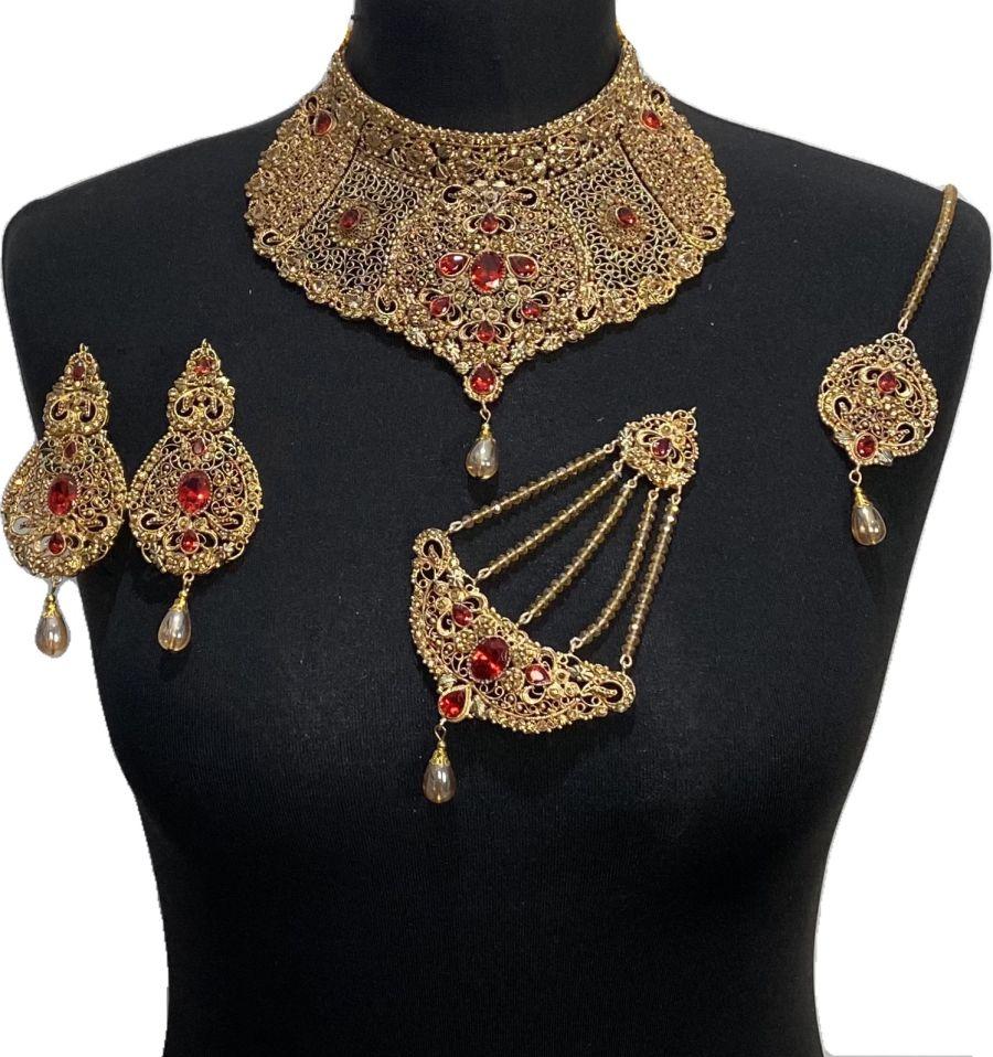 red pakistani bridal jewellery set BRD0491