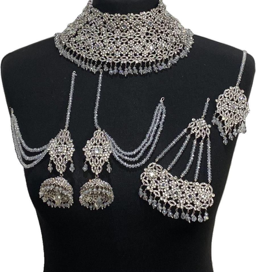 diamonte pakistani bridal jewellery set BRD0492