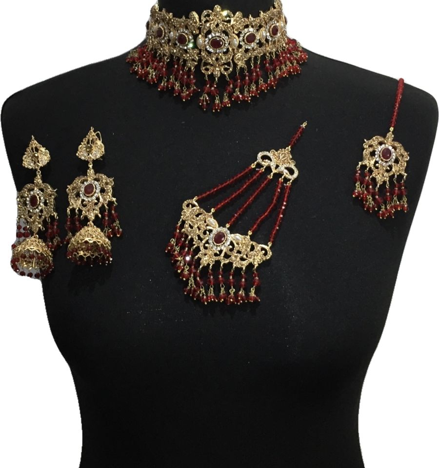 maroon bridal choker jewellery set BRD0494