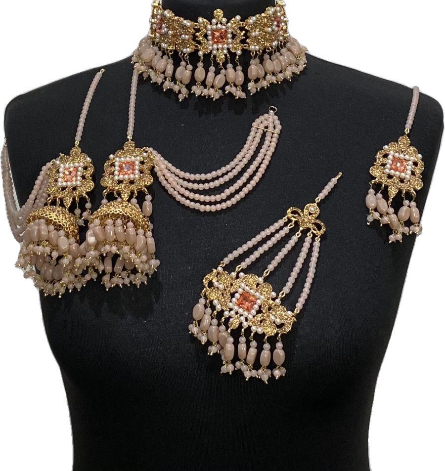 peach pakistani bridal jewellery set BRD0496