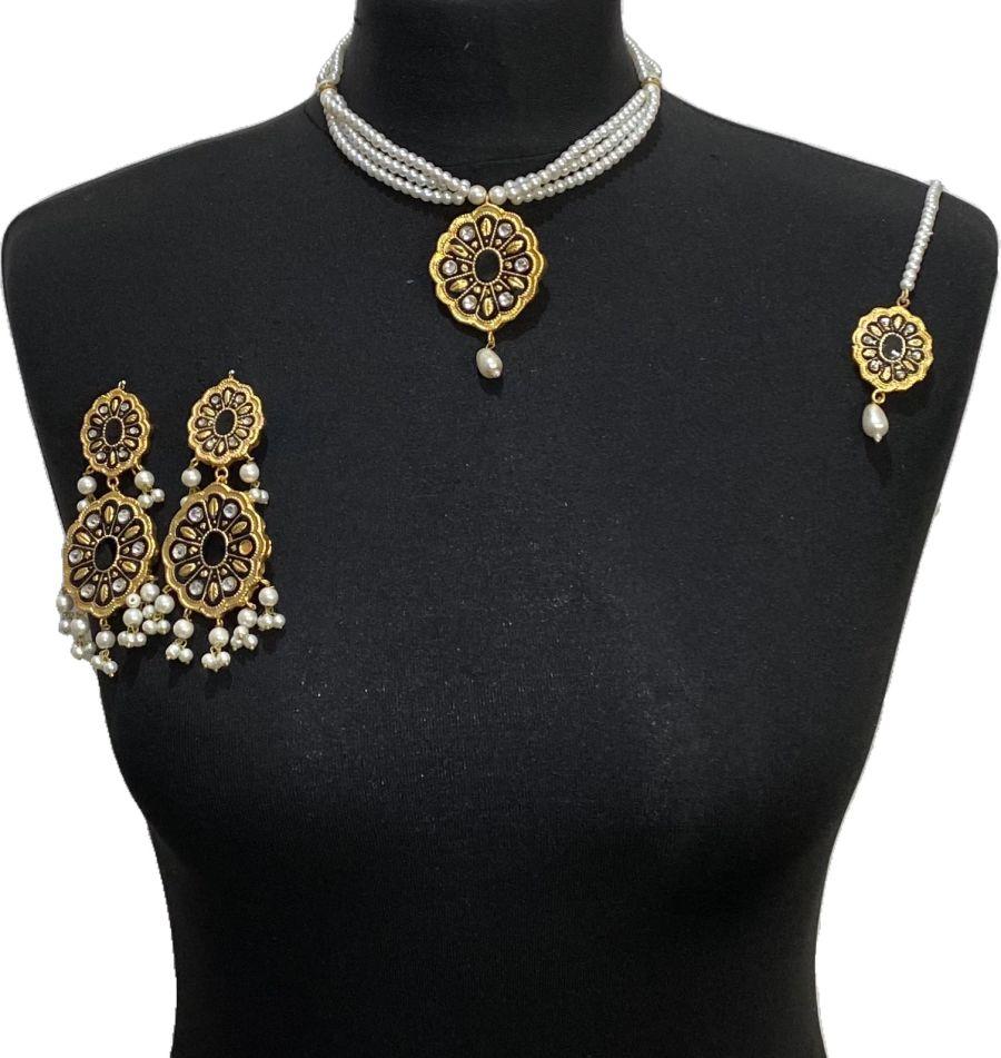 black meena jewellery set NCK0637