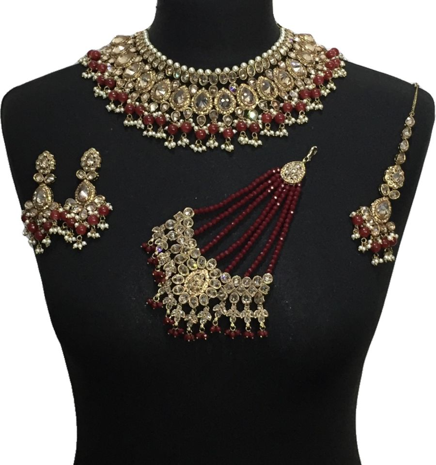 maroon indian bridal jewellery set BRD0498
