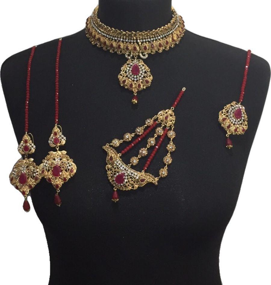 maroon pakistani bridal jewellery set BRD0500