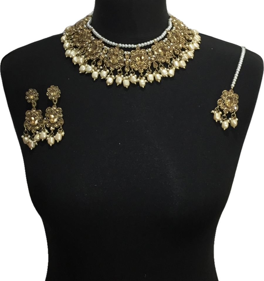 golden pakistani jewellery set NCK0640