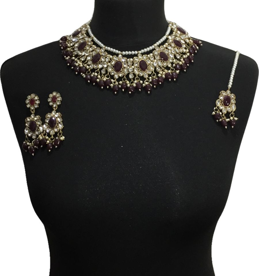 maroon pakistani jewellery set NCK0641