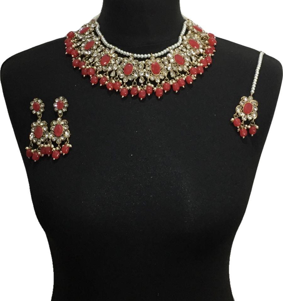 red pakistani jewellery set NCK0642