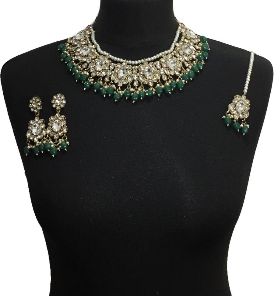 green pakistani jewellery set NCK0643