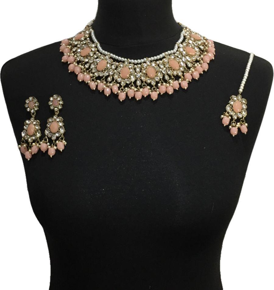 peach pakistani jewellery set NCK0644