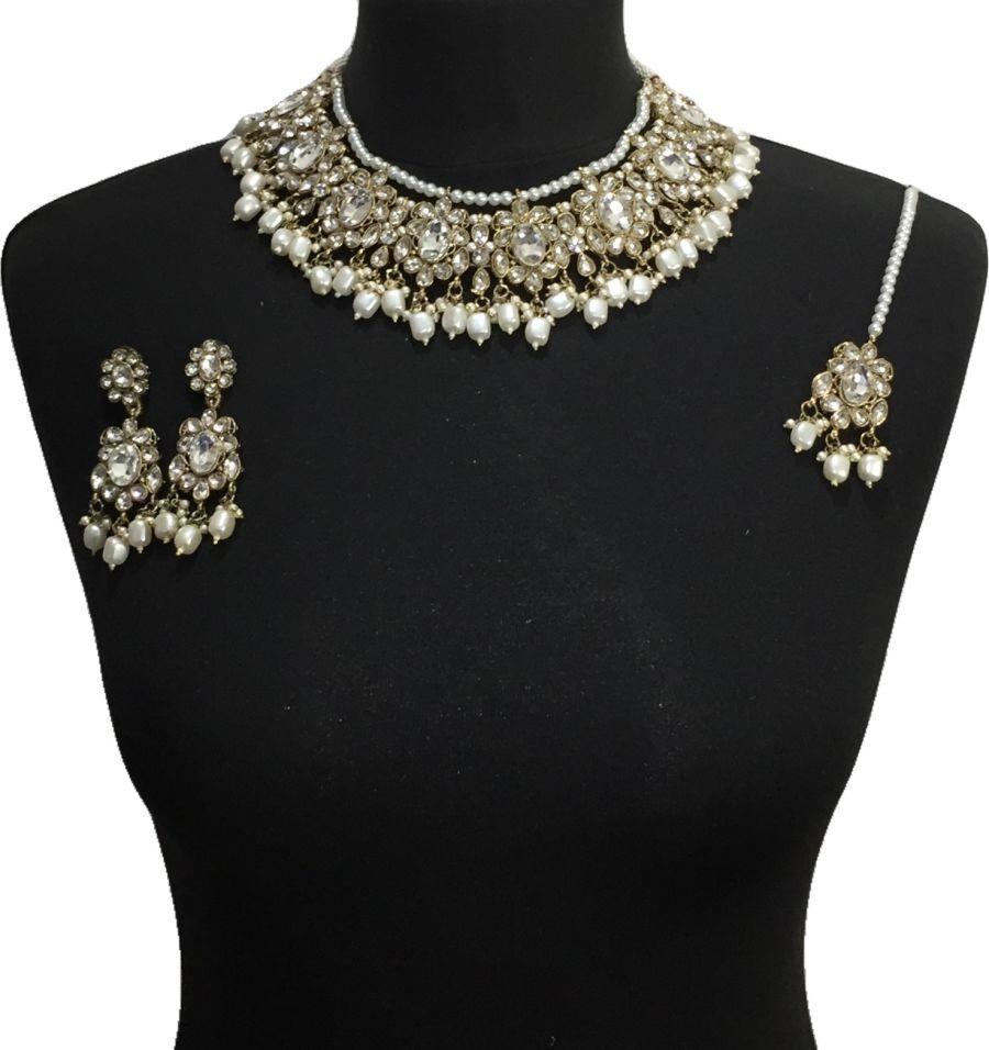 diamonte pakistani jewellery set NCK0645