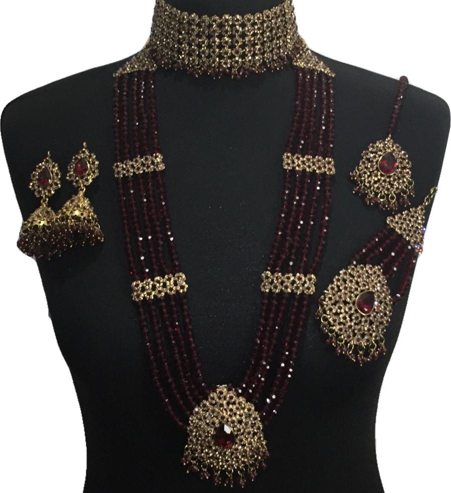 maroon pakistani bridal jewellery BRD0501
