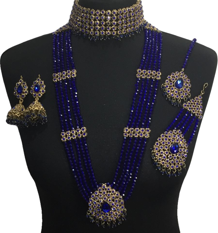 royal blue pakistani bridal jewellery set BRD0502