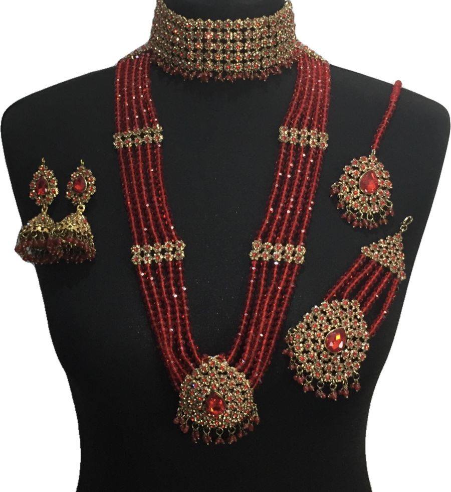 red pakistani bridal jewellery set BRD0503
