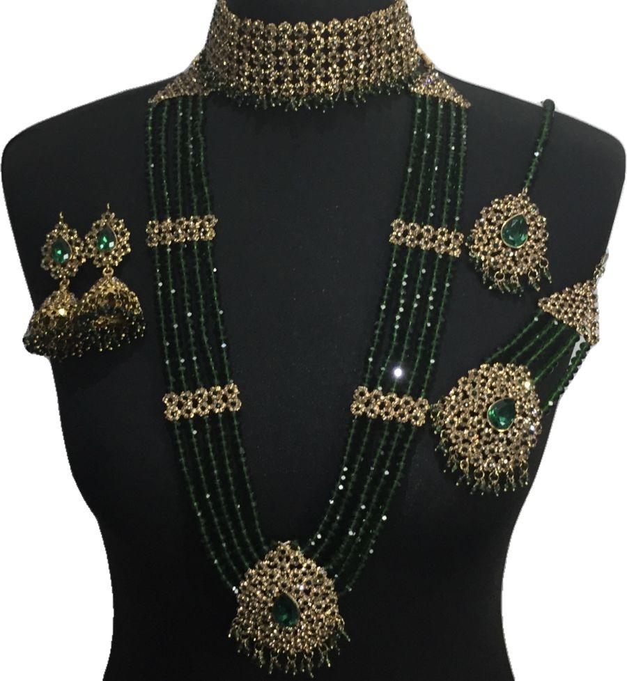 green pakistani bridal jewellery BRD0504
