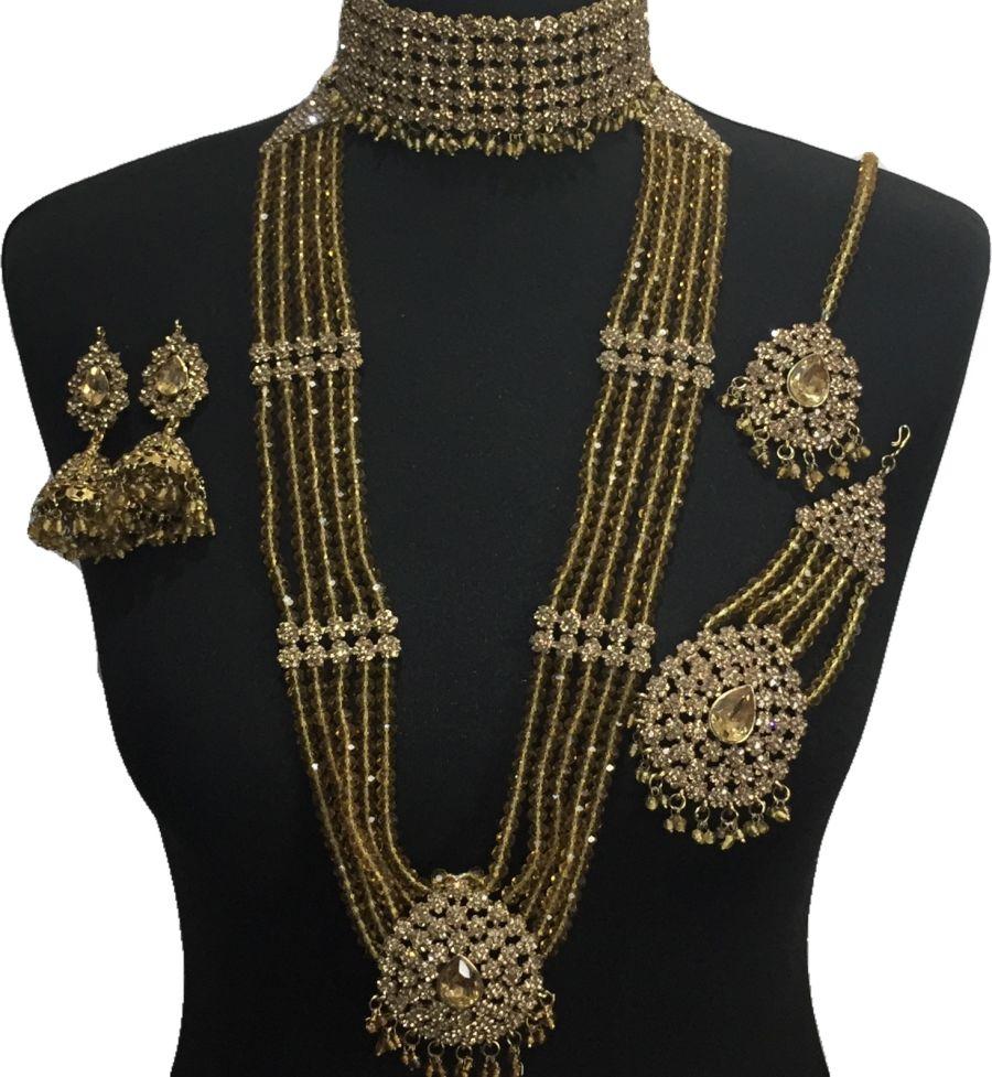 golden pakistani bridal jewellery set BRD0505