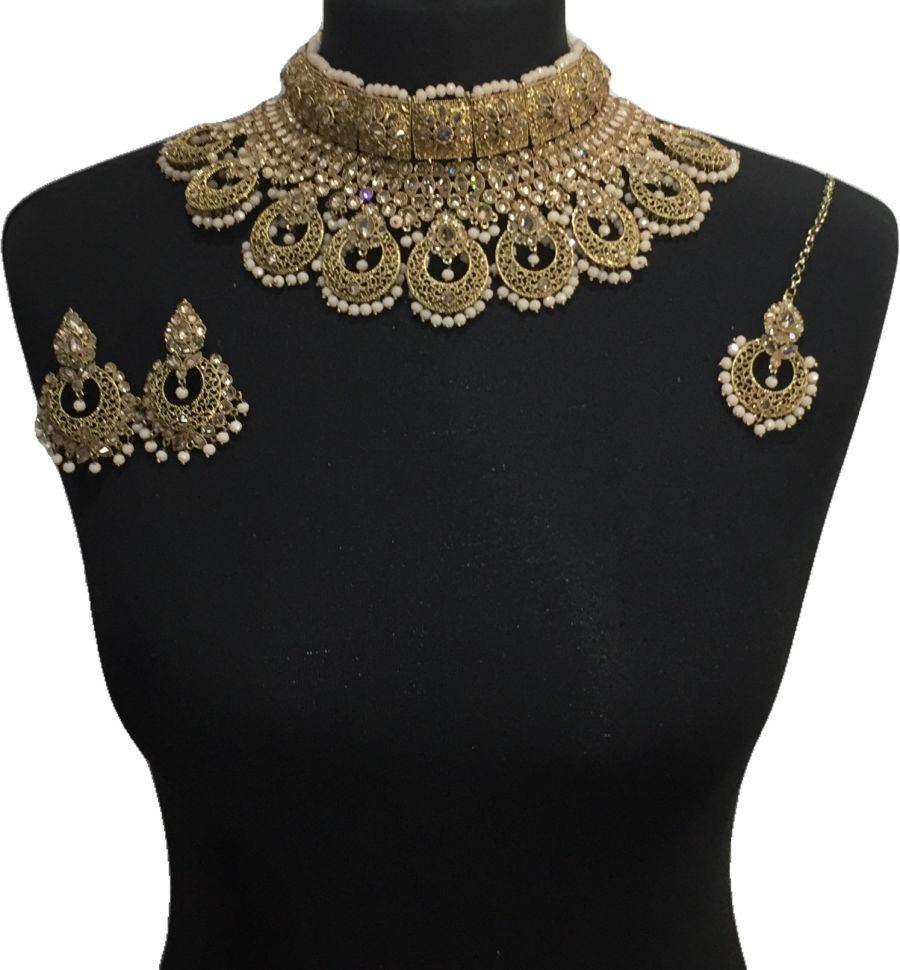 peach pakistani jewellery set NCK0646