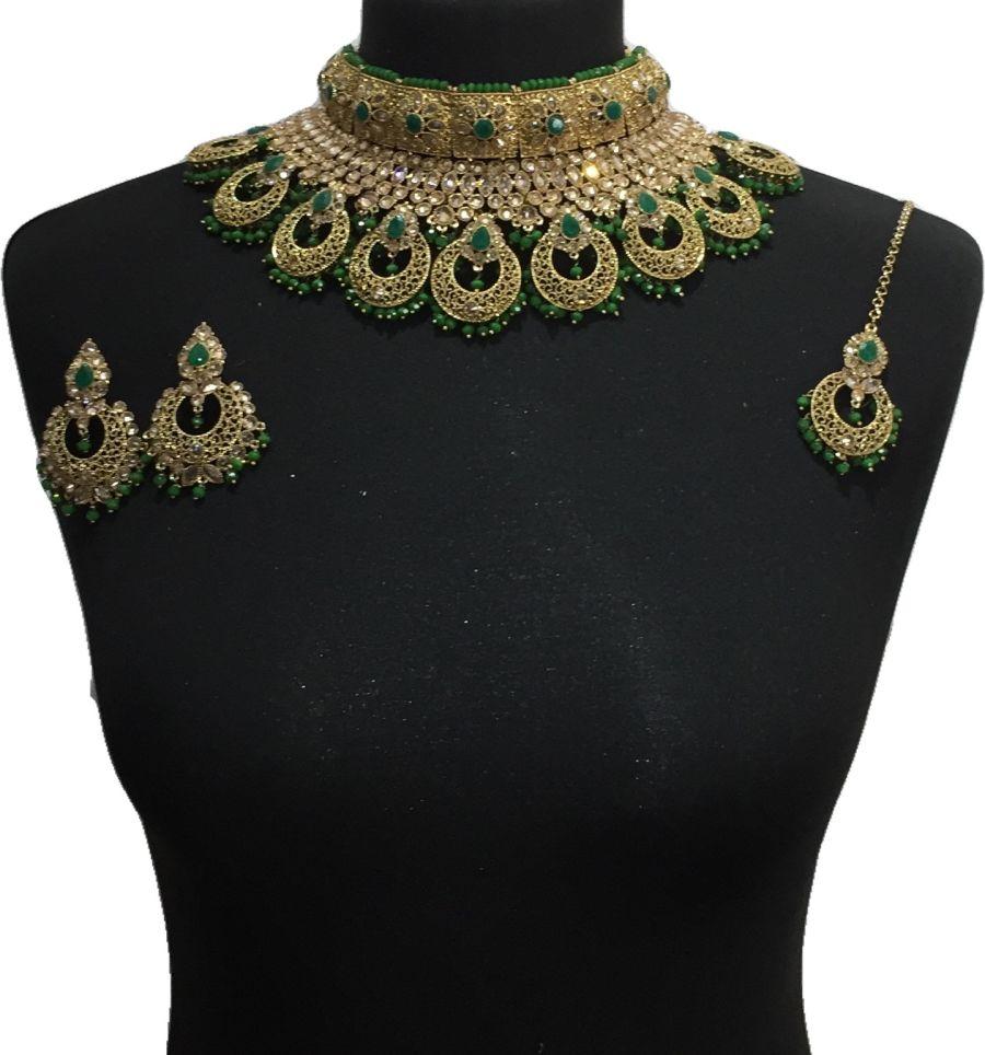 green pakistani jewellery set NCK0647