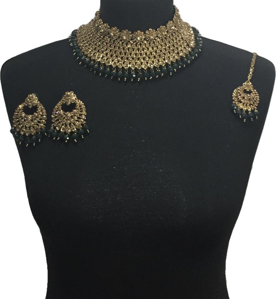 green pakistani jewellery set NCK0649