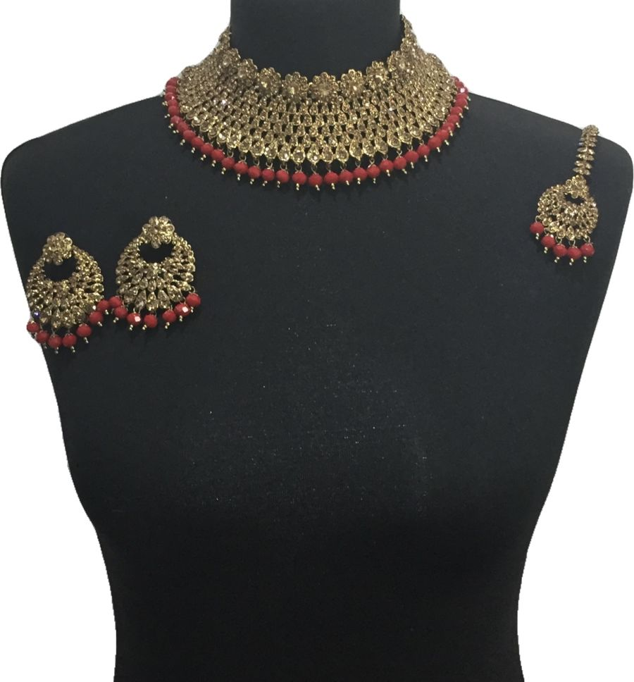 red pakistani jewellery set NCK0650
