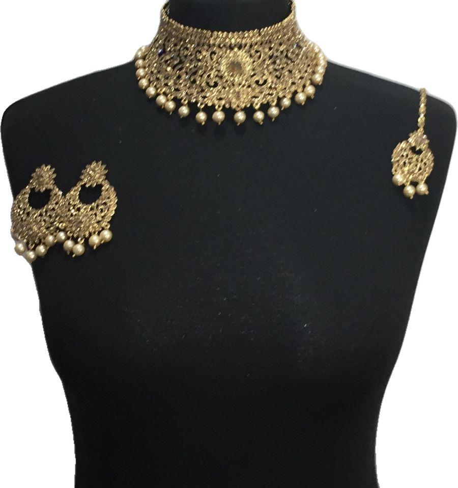 golden pakistani jewellery set NCK0651