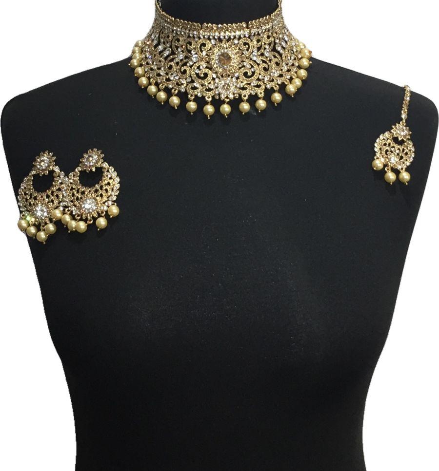 golden pakistani jewellery set NCK0652
