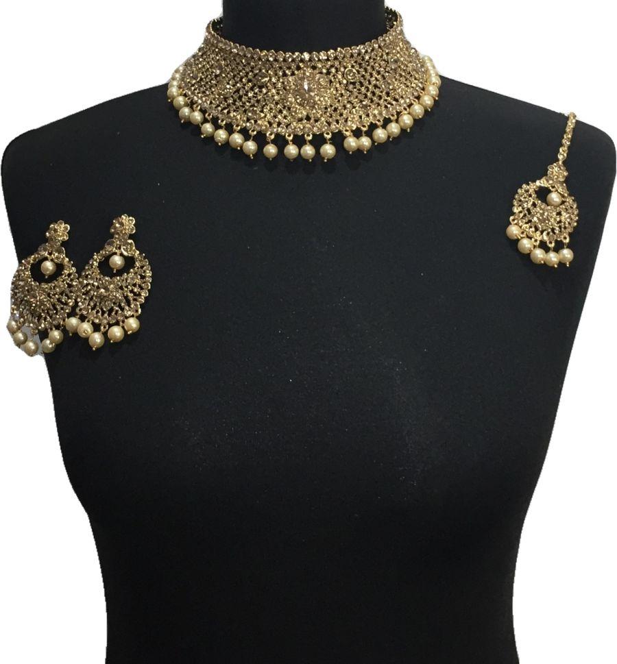 golden pakistani jewellery set NCK0653
