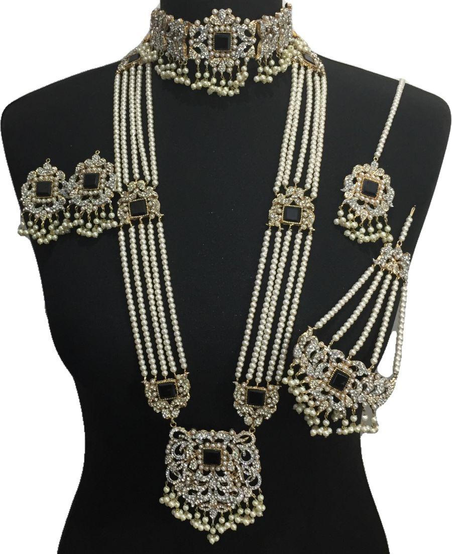 black pakistani bridal jewellery set BRD0507