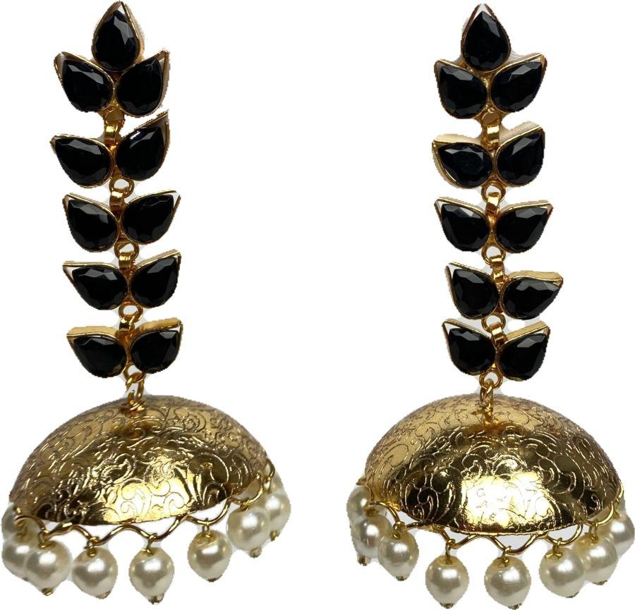 black leaf jhumka earrings EAR0327