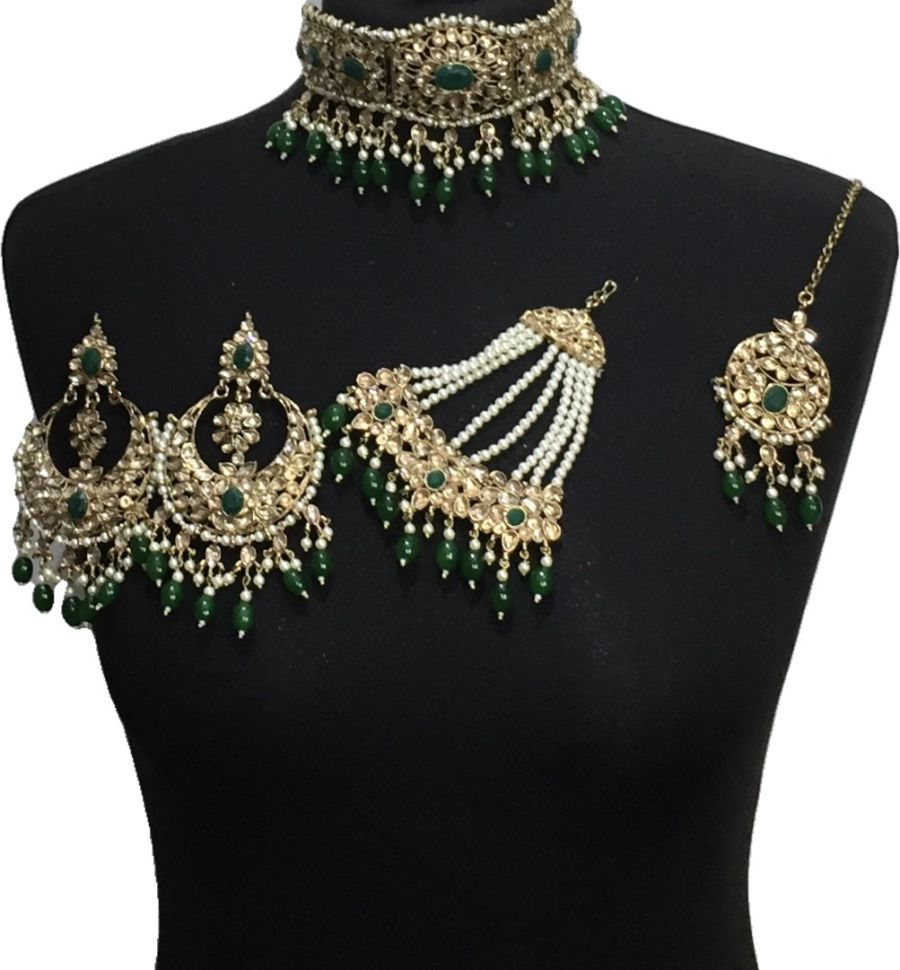 green bridal choker set BRD0509