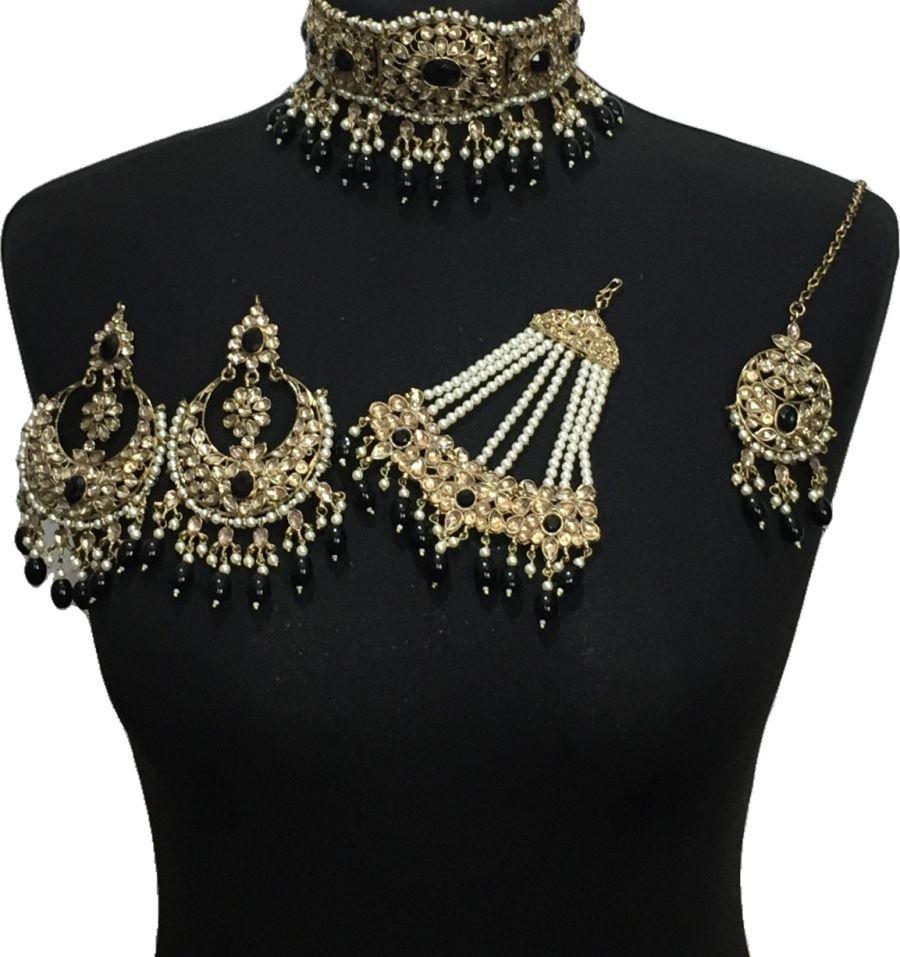 black golden bridal choker set BRD0512