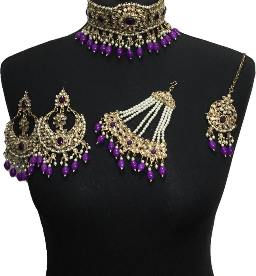 purple golden bridal choker set BRD0515