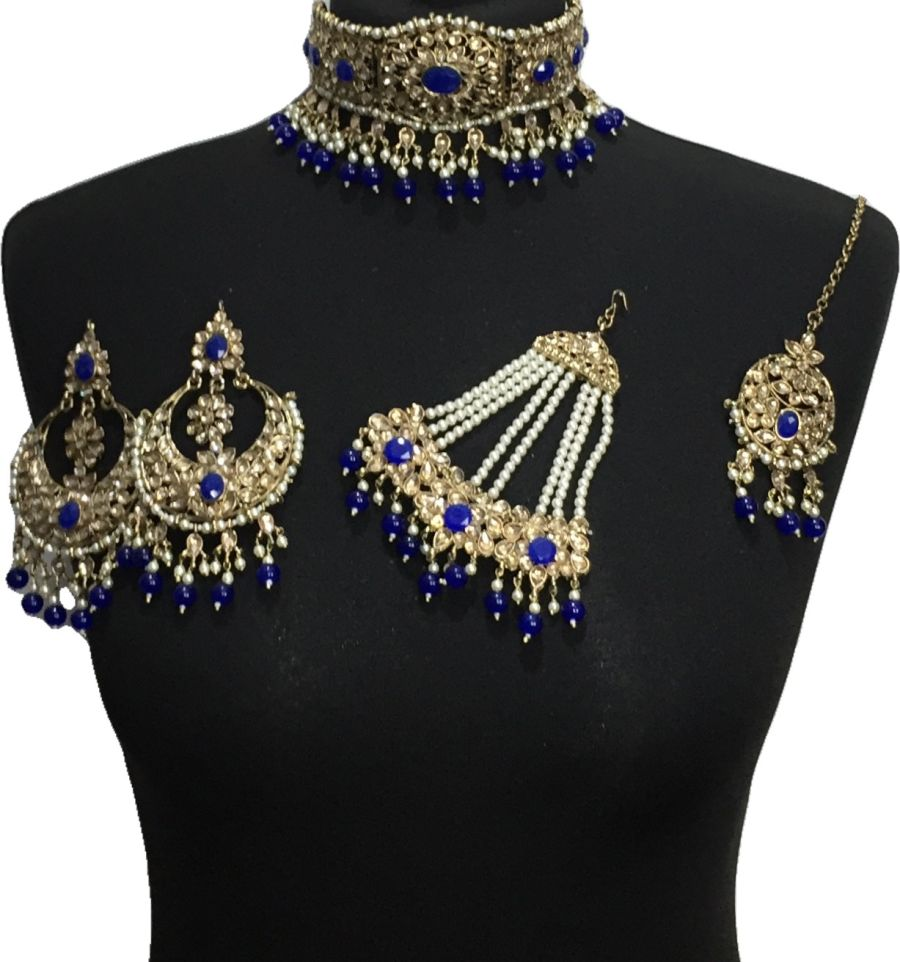 royal blue golden bridal choker set BRD0516
