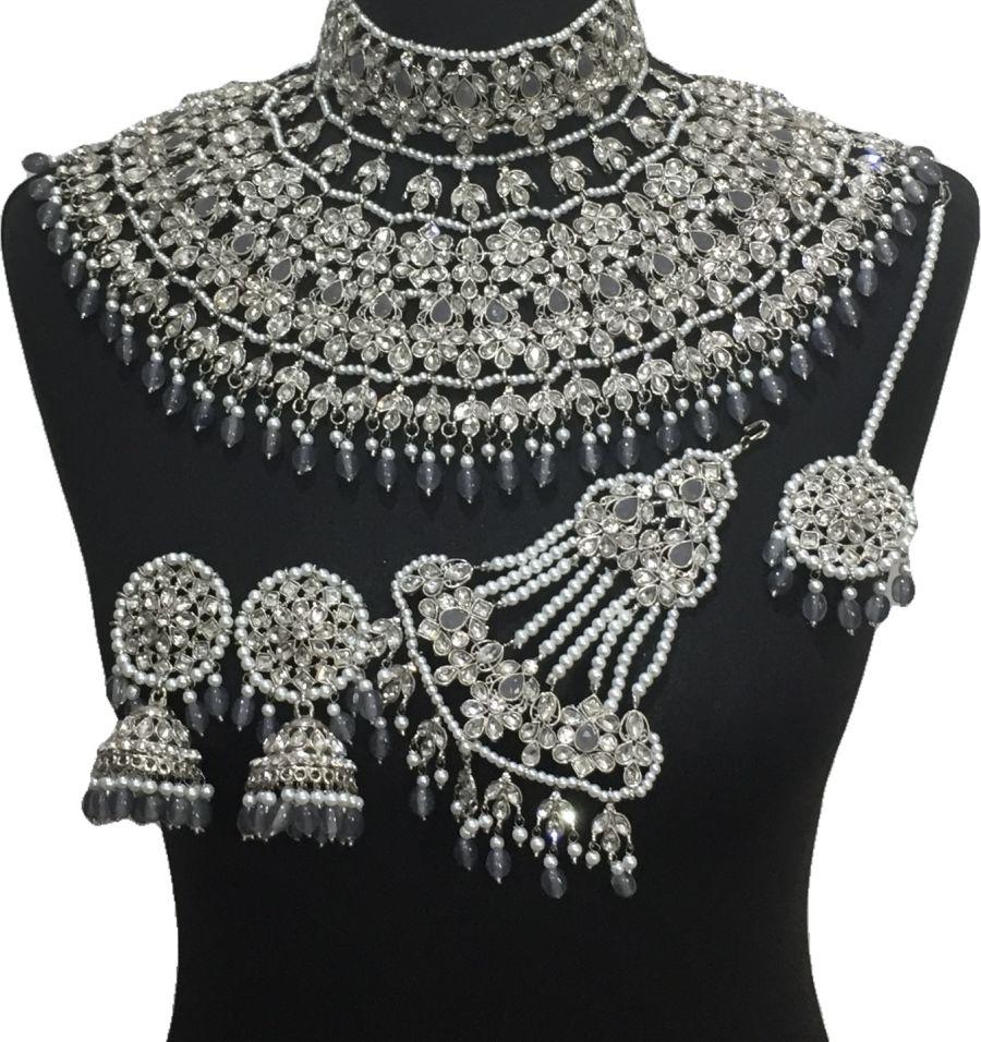 grey bridal jodha jewellery set BRD0517