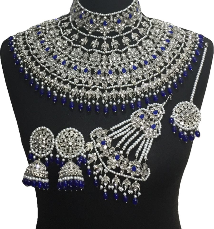 royal blue jodha bridal jewellery set BRD0519