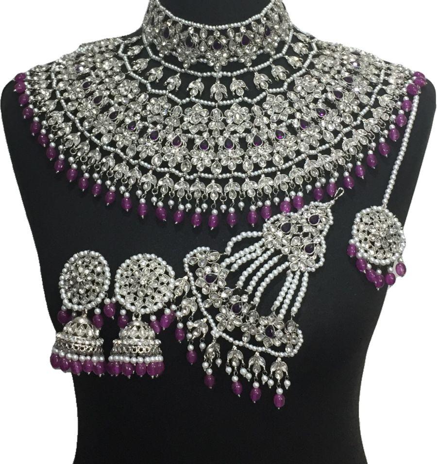 purple bridal jodha jewellery set BRD0521