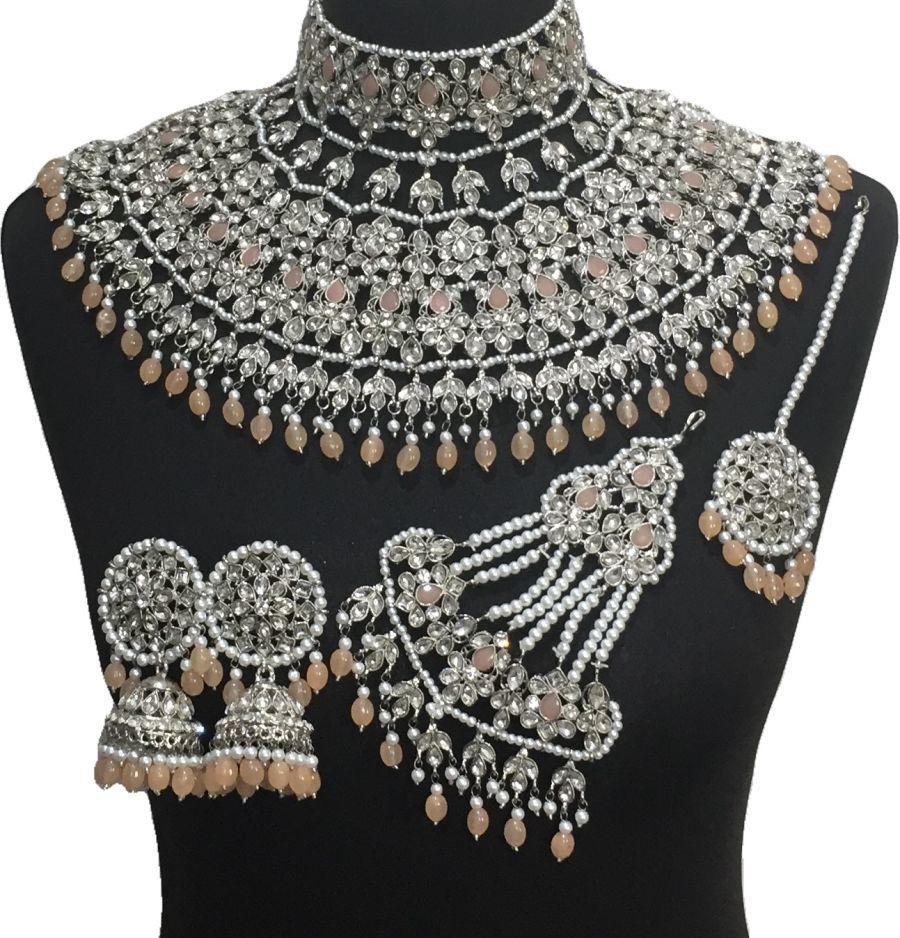 peach bridal jodha jewellery set BRD0522