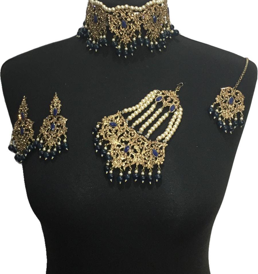 navy blue bridal choker jewellery set BRD0523