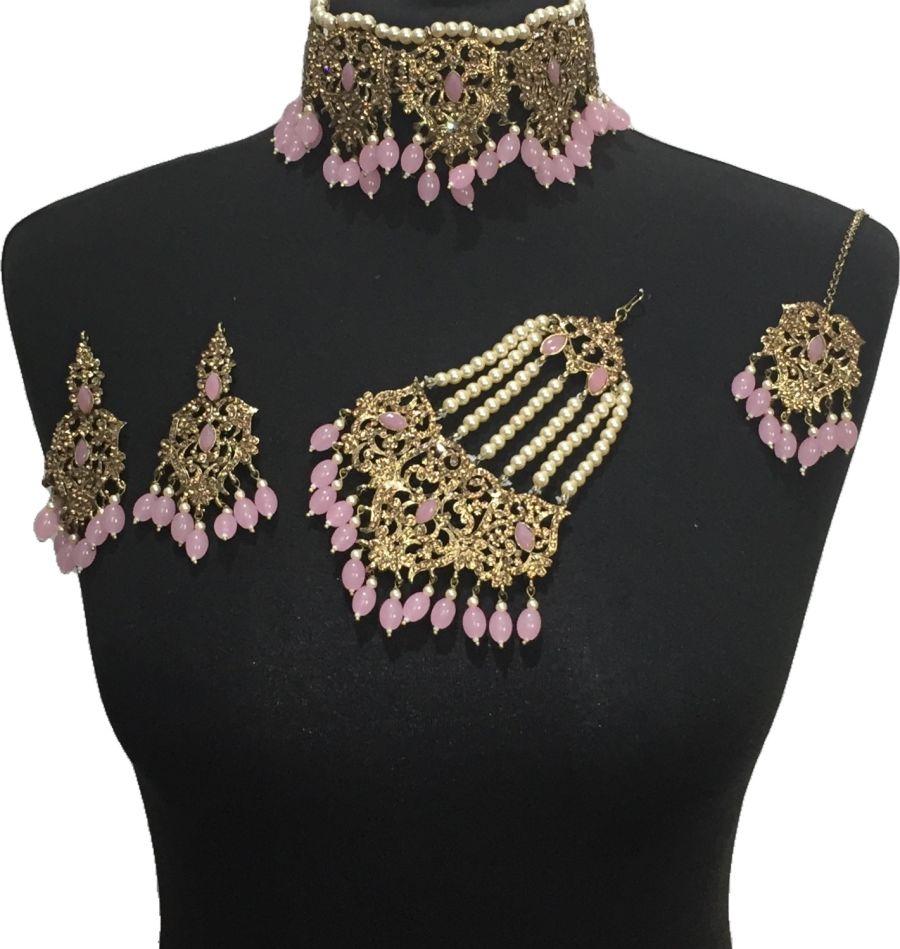 pink bridal choker jewellery set BRD0524