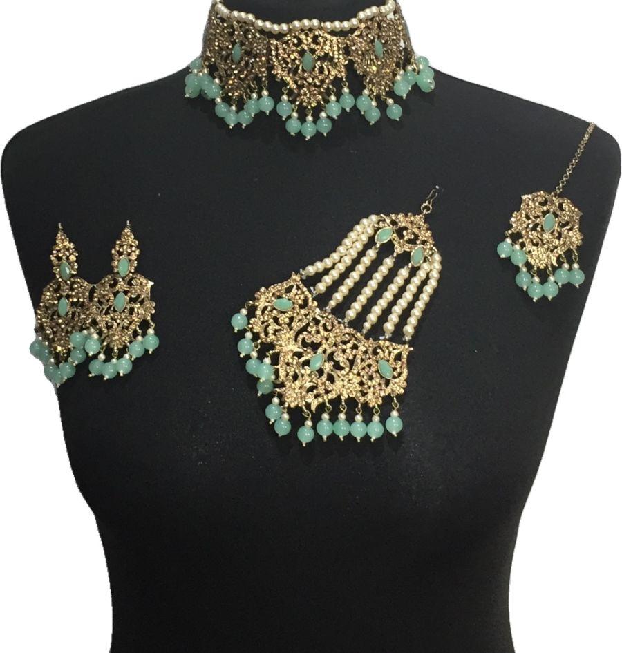 mint bridal choker jewellery set BRD0525