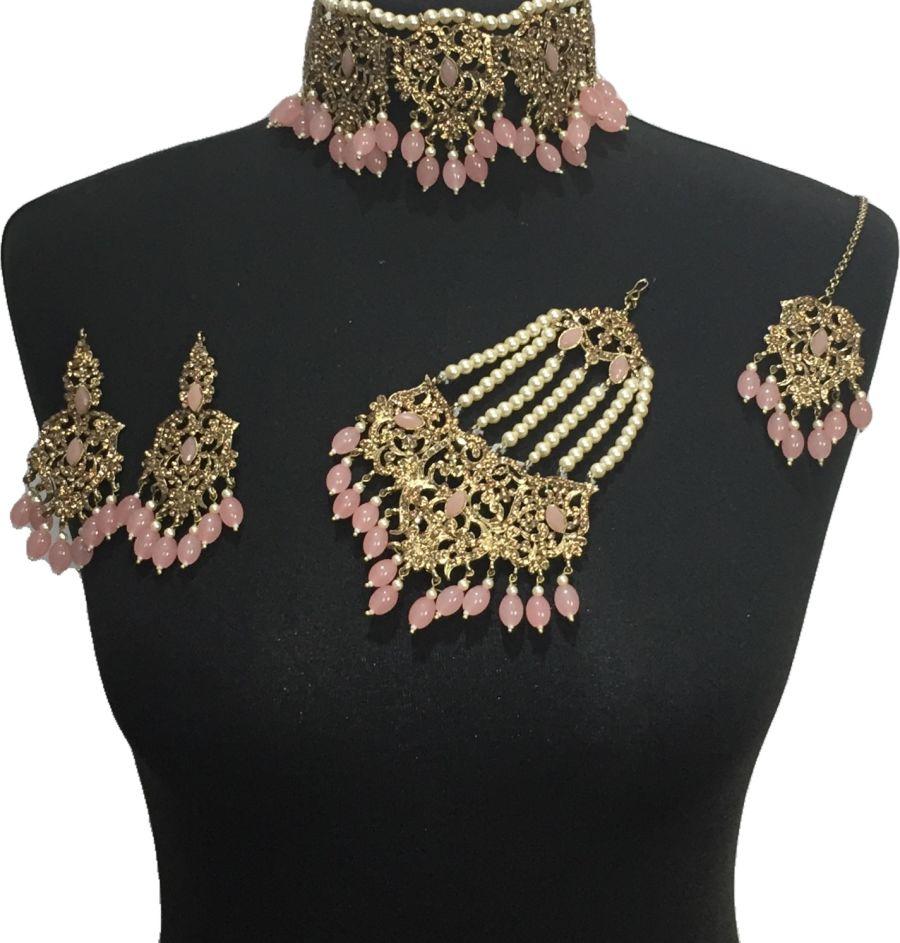 peach bridal choker jewellery set BRD0526