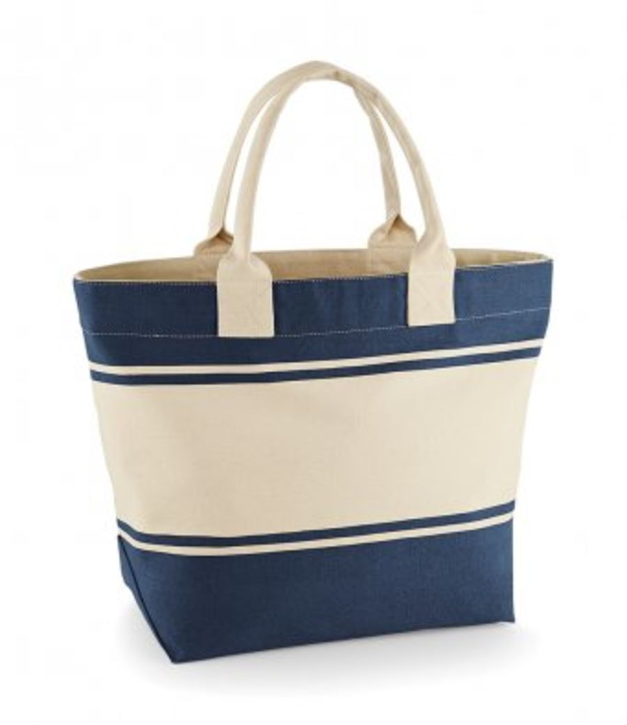 CANVAS DECK BAG  CREAM AND NAVY