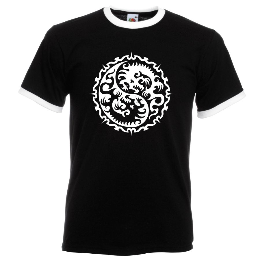 circle dragon design on a black and white ringer t shirt