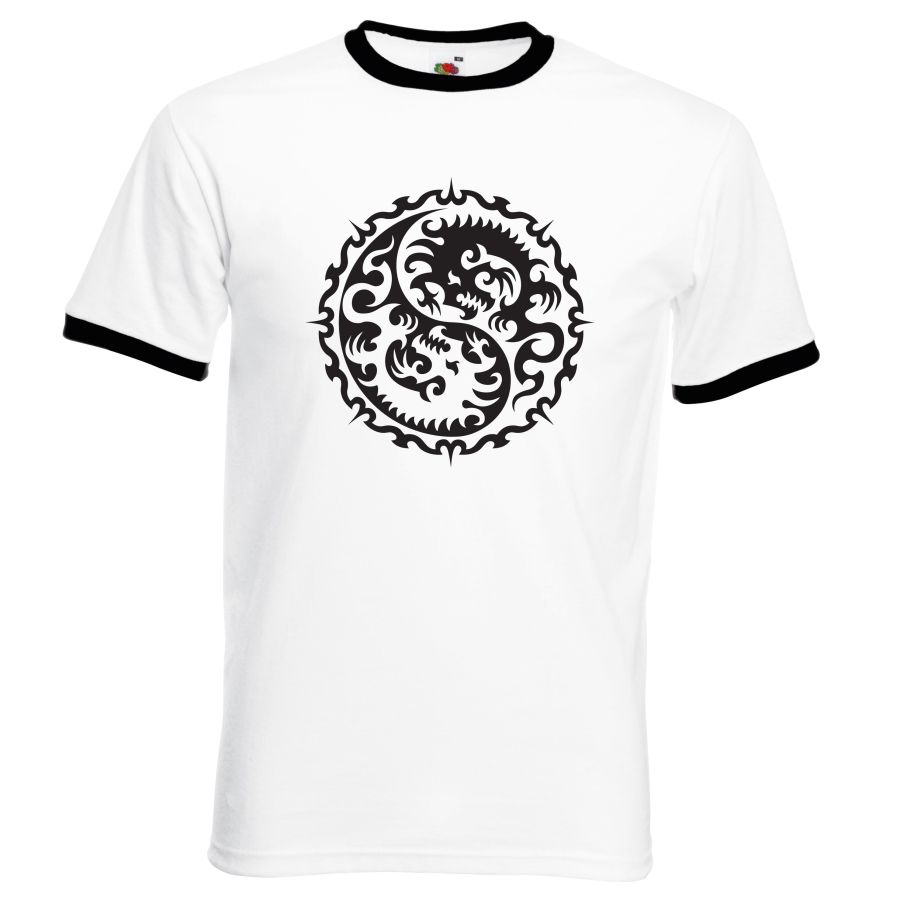 circle dragon design  white and black ringer t shirt